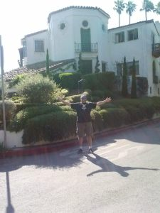 "Me standing outside the house in the Hollywood Hills where ""Double Indemnity"" was filmed."